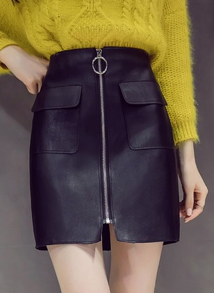PU Solid Above Knee Casual Zipper Skirts