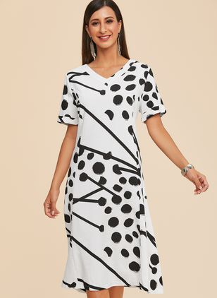 Plus Size Casual Geometric V-Neckline Midi A-line Dress (1352017)