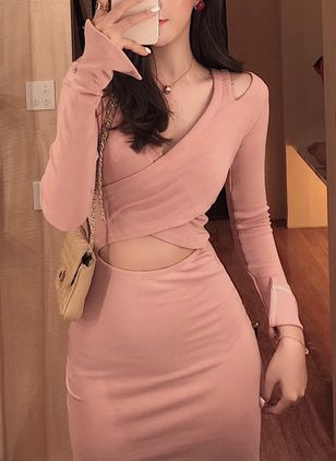 Solid Pencil Long Sleeve Above Knee Bodycon Dress