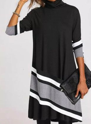 Casual Color Block Tunic High Neckline Shift Dress (107562455)