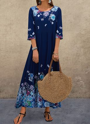 Casual Floral Shirt Round Neckline A-line Dress (4369286)