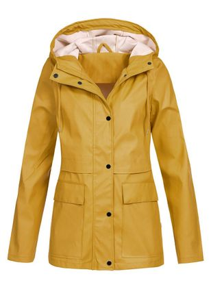 Long Sleeve Hooded Buttons Pockets Coats (102931277)