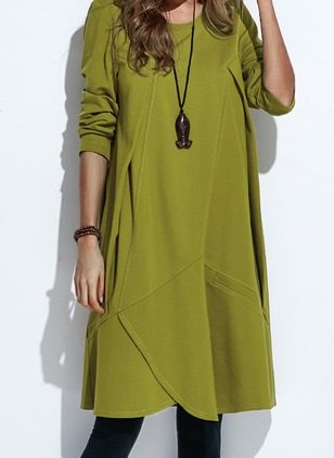 Casual Solid Others Round Neckline A-line Dress (1353968)