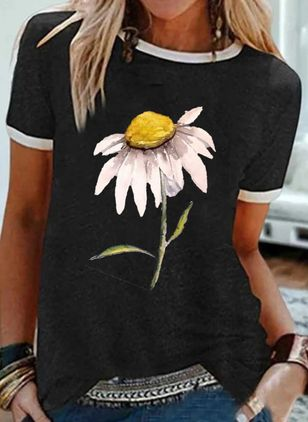 Floral Round Neck Short Sleeve Casual T-shirts (4864530)