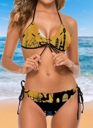 Nylon Halter Color Block Bikinis Swimwear (109554056)
