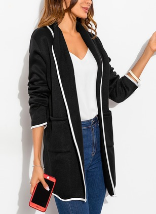 Polyester Long Sleeve Lapel Pockets Coats