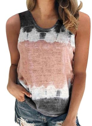 Color Block Round Neck Sleeveless Casual T-shirts (4045463)