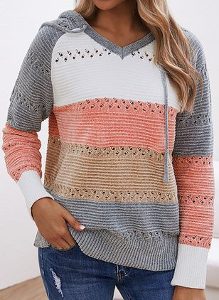 Hooded Color Block Casual Loose Regular Shift Sweaters (101987003)