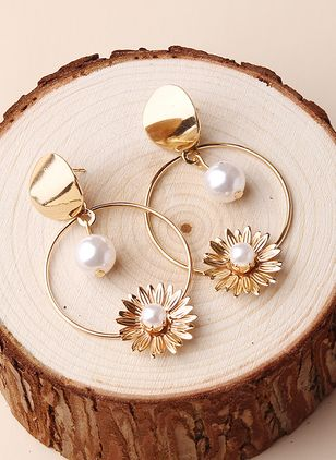 Casual Floral Ball Pearls Dangle Earrings (147156172)