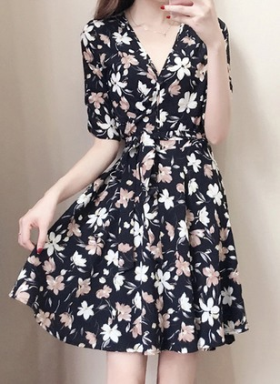 Floral Ruffles Skater Above Knee A-line Dress