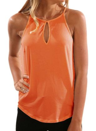 Solid Halter Neckline Sleeveless Casual T-shirts (147076424)
