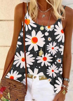 Floral Camisole Neckline Sleeveless Casual T-shirts (147949279)