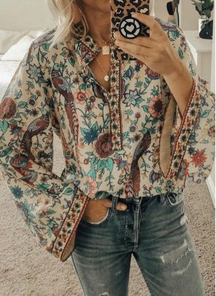 Floral Casual Round Neckline Long Sleeve Blouses (120649090)