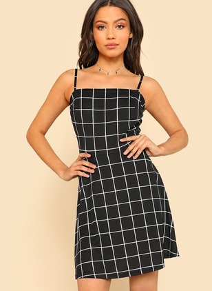 Plaid Slip Sleeveless Shift Dress