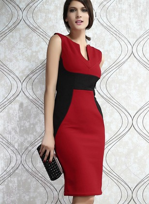 Cotton Color Block Sleeveless Knee-Length Dresses