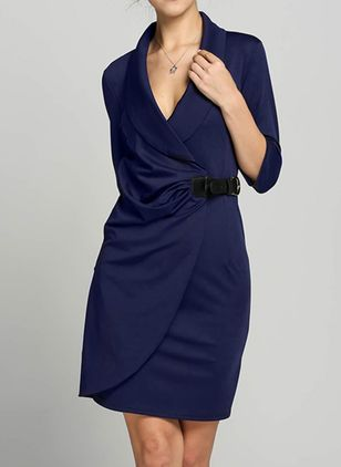 Elegant Solid V-Neckline Knee-Length A-line Dress (4101261)