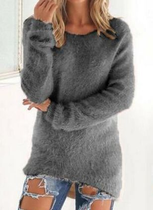 Round Neckline Solid Casual Loose Regular Shift Sweaters (5610100)