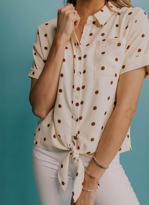 Polka Dot Casual Collar Short Sleeve Blouses
