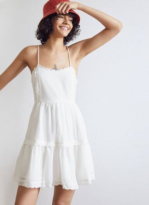 Solid Lace Slip Above Knee X-line Dress