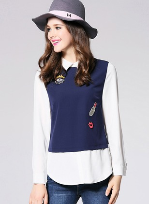 Color Block Casual Polyester Collar Long Sleeve Blouses