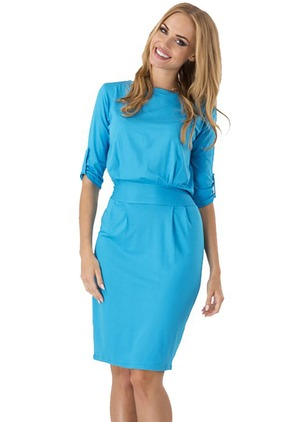 Cotton Solid Half Sleeve Above Knee Dresses