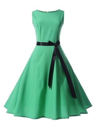 Color Block Bow Wrap Sleeveless A-line Dress