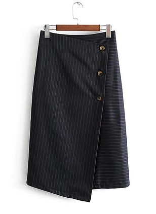 Polyester Stripe Mid-Calf Casual Buttons Skirts