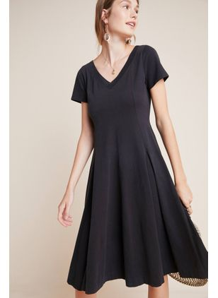 Solid Short Sleeve Midi X-line Dress