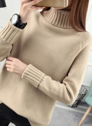 High Neckline Solid Loose Regular Sweaters