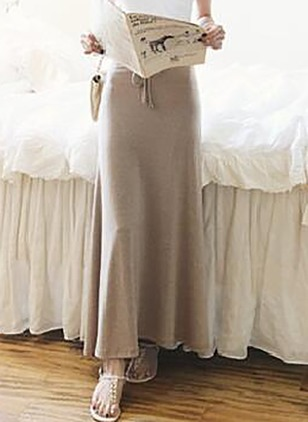 Cotton Solid Maxi Elegant Skirts