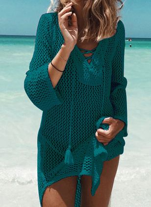 Polyester Solid Cover-Ups Swimwear (107805196)