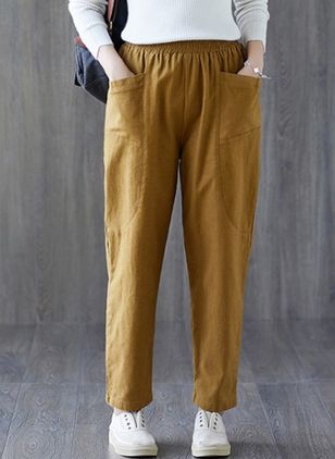 Casual Straight Pockets Mid Waist Polyester Pants (147429526)