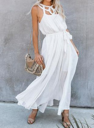 Solid Sashes Wrap Maxi X-line Dress