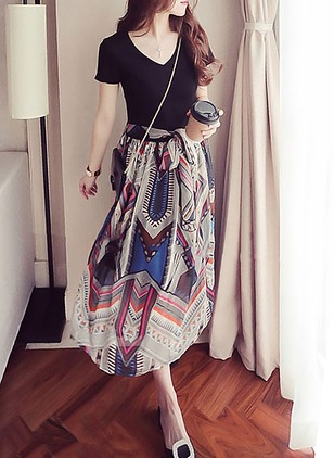 Polyester Color Block Short Sleeve Maxi Dresses