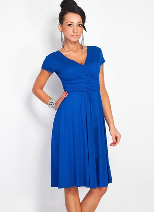 Solid Skater V-Neckline Cap Sleeve A-line Dress