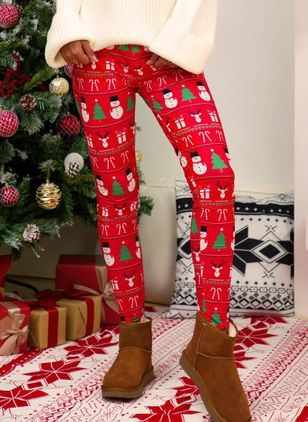 Christmas Skinny Pattern Mid Waist Polyester Pants (122030758)