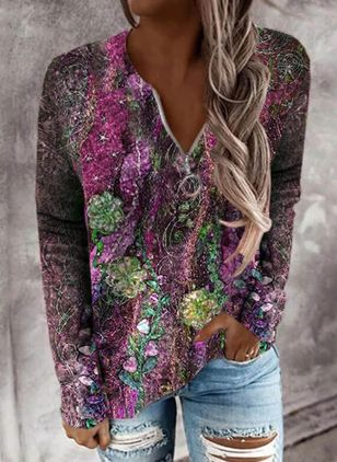 V-Neckline Floral Casual Regular Zipper Sweaters (146863022)