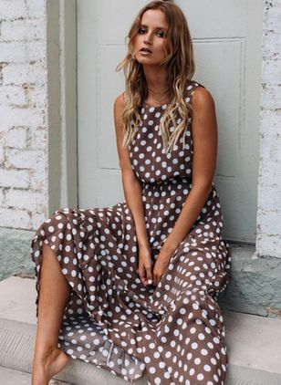 Polka Dot Round Neckline Sleeveless Maxi X-line, Dress