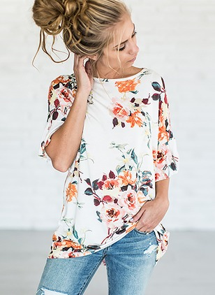 Cotton Floral Round Neck Half Sleeve Casual T-shirts