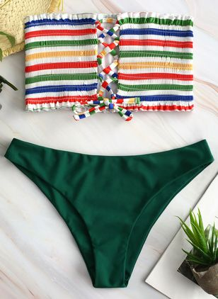 Plus Size Polyester Bandeau Color Block Cross Knotted Bikinis Swimwear