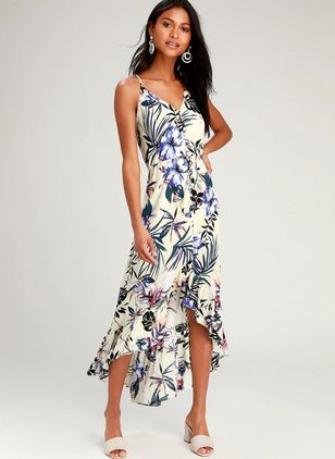Floral Buttons Slip Midi X-line Dress