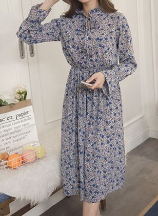 Floral Peasant Long Sleeve Maxi Dress