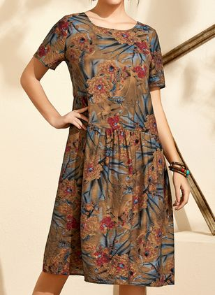 Casual Floral Tunic Round Neckline Shift Dress (4864730)