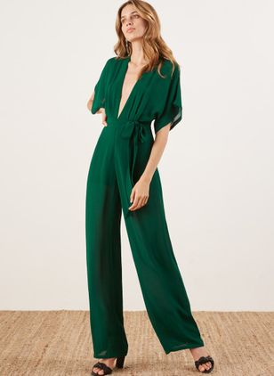 Solid Short Sleeve Jumpsuits & Rompers