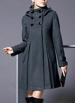 Polyester Long Sleeve Stand Collar Pockets Coats