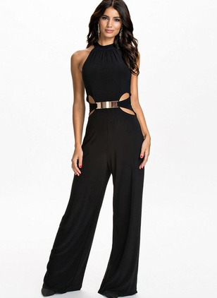 Polyester Solid Sleeveless Backless Jumpsuits & Rompers