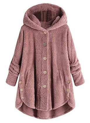 Long Sleeve Hooded Buttons Coats (105022201)