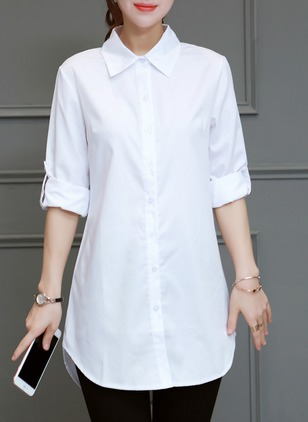 Solid Casual Cotton Collar Half Sleeve Blouses