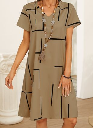 Casual Geometric Tunic V-Neckline Shift Dress (146834235)