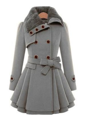 Long Sleeve Collar Sashes Buttons Coats (107561957)
